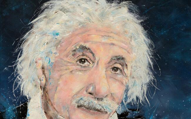 Einstein - Peinture à l'huile sur toile - 80x80cm