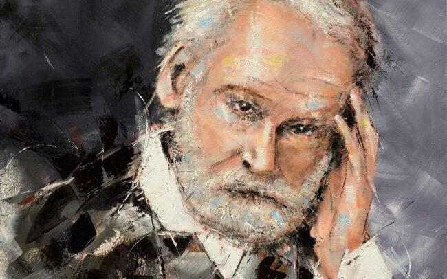 Victor Hugo - Peinture à l'huile sur toile - 60x60cm
