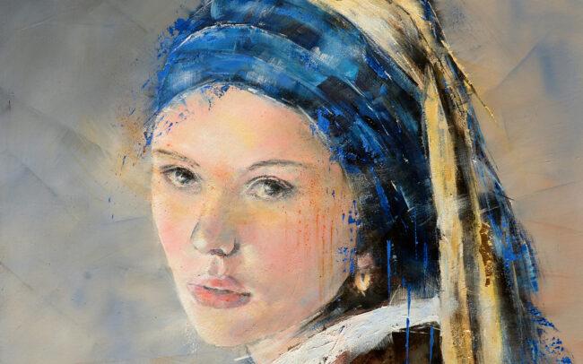 La jeune fille à la perle - Peinture à l'huile sur toile - 60x60cm
