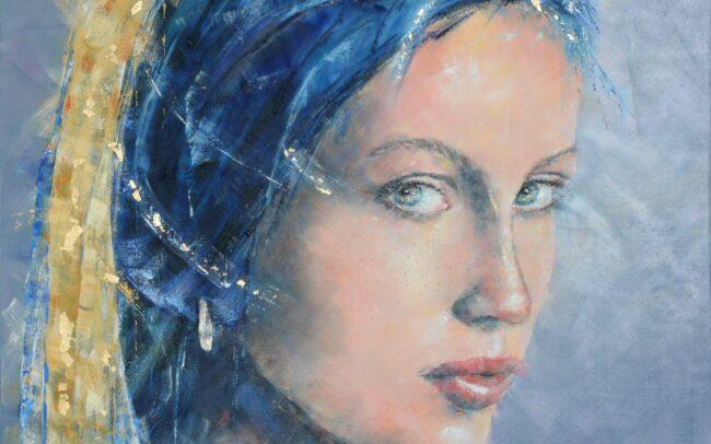 La jeune fille à la perle N.2 - Peinture à l'huile sur toile - 80x80cm